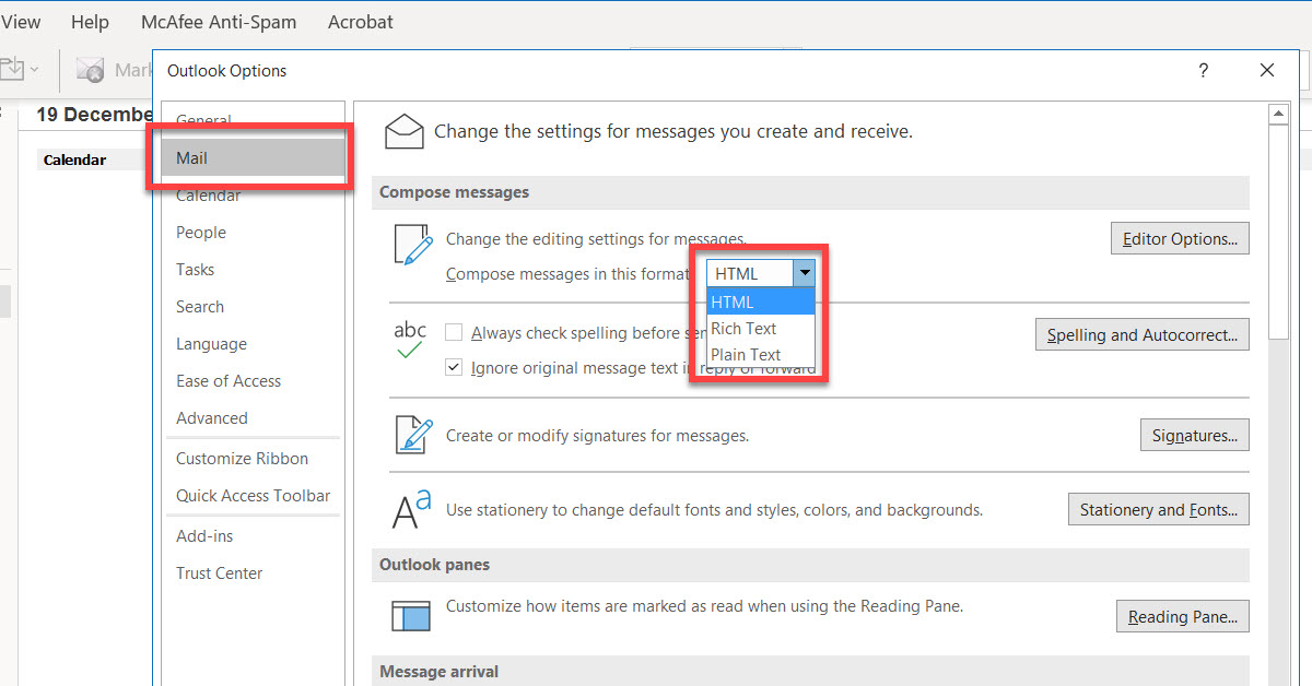 Outlook Compose Email TYpes