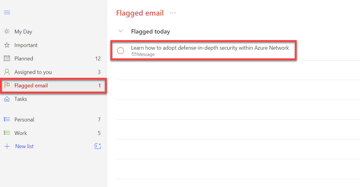Flagged email displayed in Microsoft To Do.