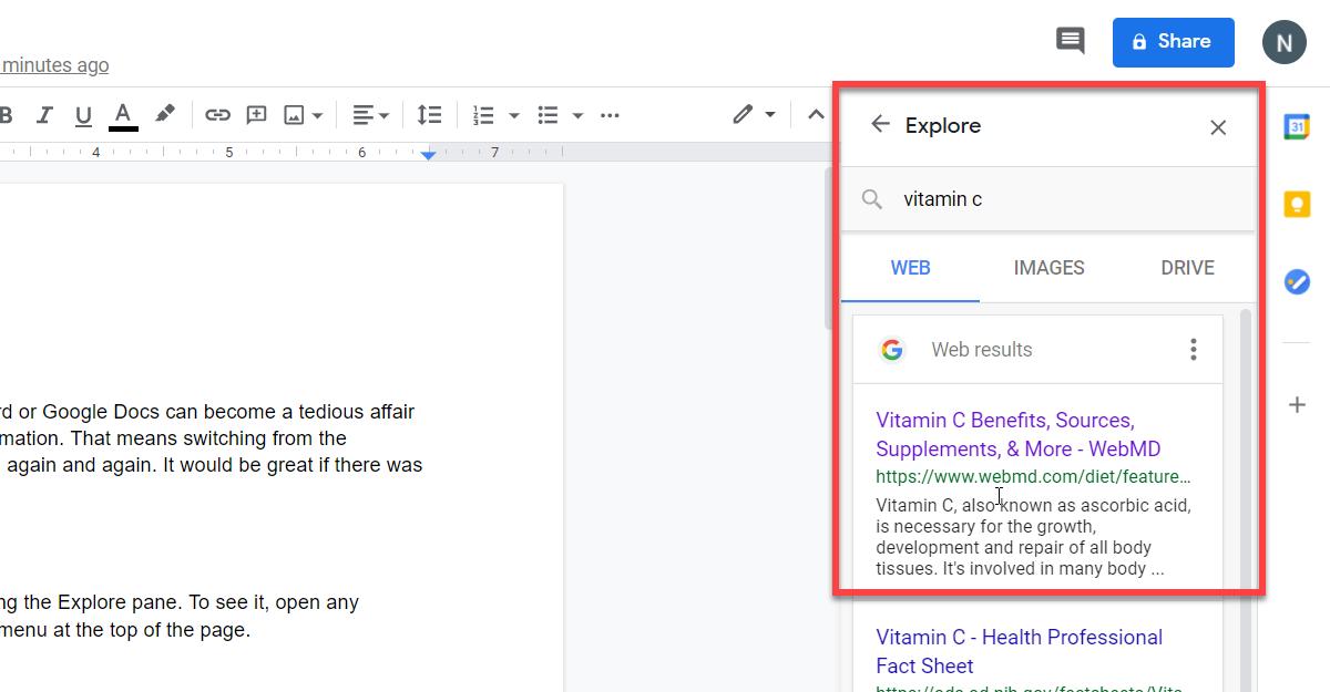 Google Docs Explore Pane Featured Image
