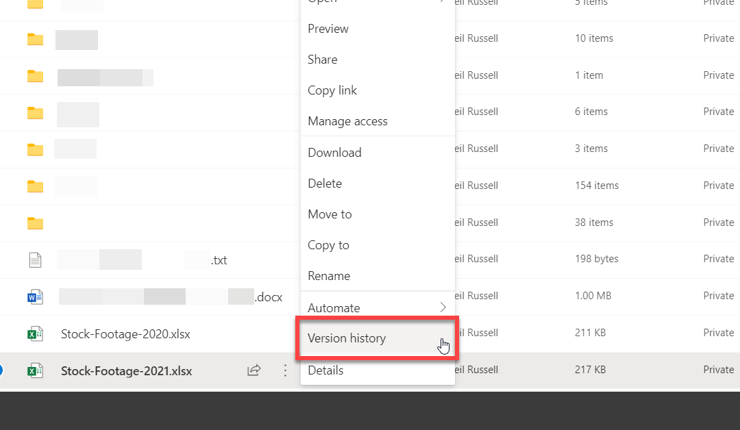 See Old Versions of Files in OneDrive
