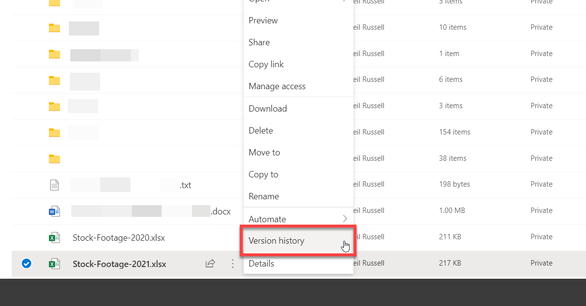 OneDrive version history action for a file
