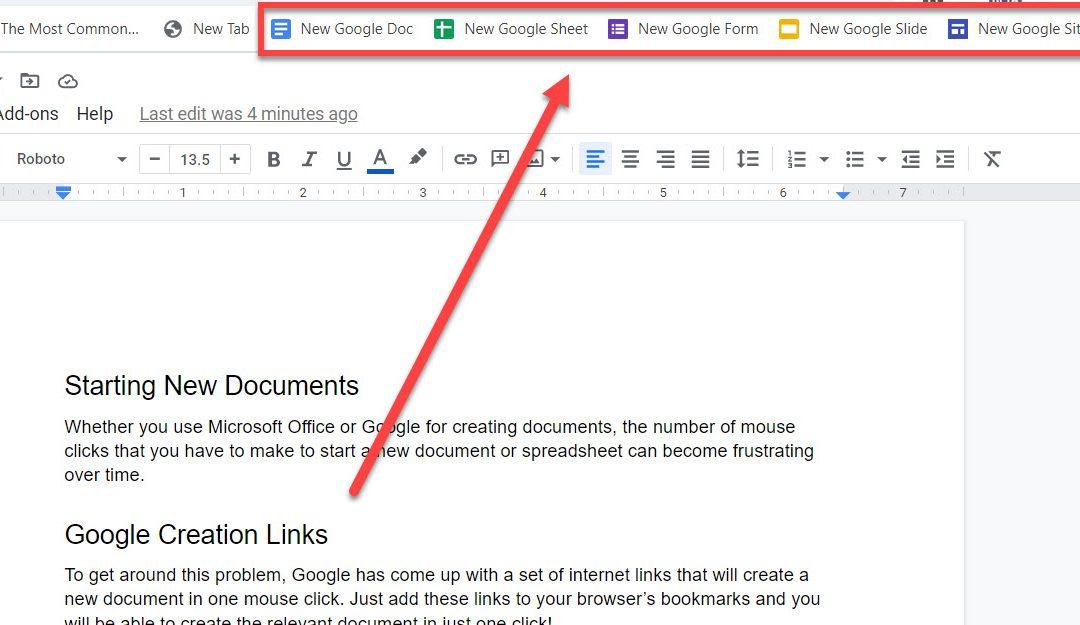 Google Quick Create Links