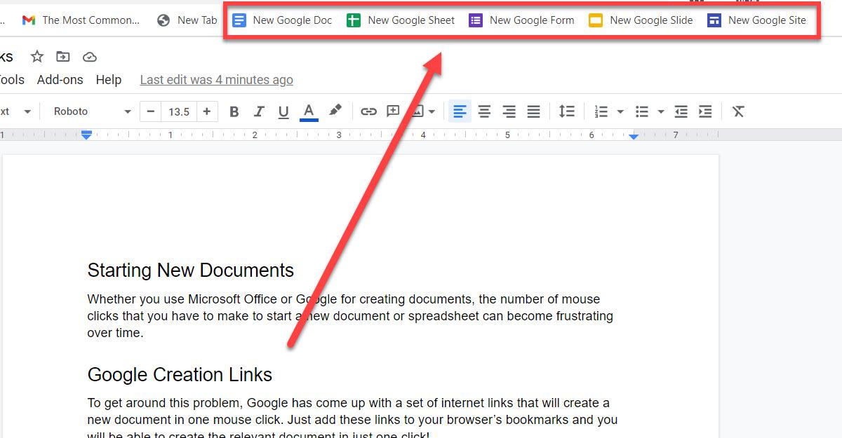 Quick create links for Google docs.