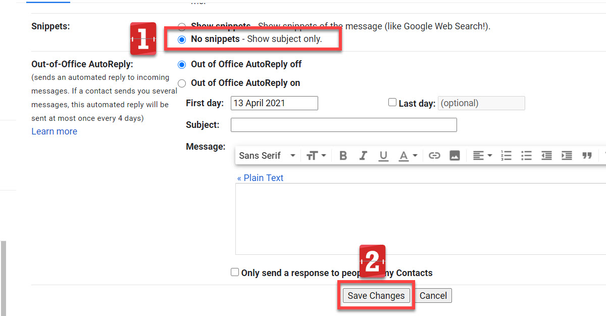 Gmail email snippets