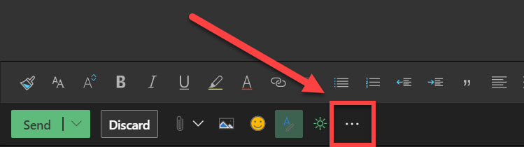 Three dot icon in Outlook online.