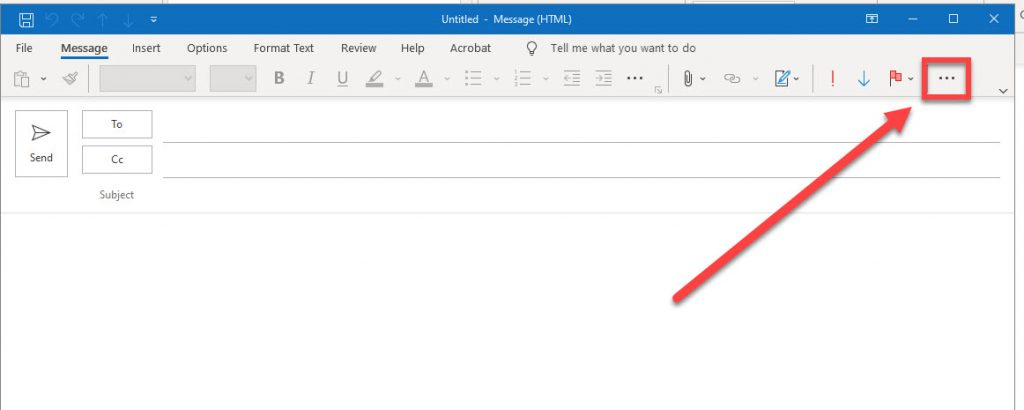 Three dot icon in desktop Outlook compose window.