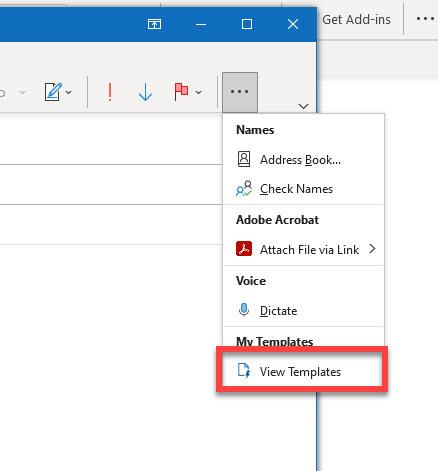 View Templates link in desktop Outlook compose window.