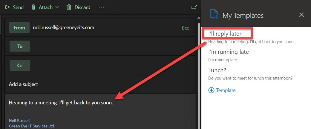 Showing template text pasted into email message.