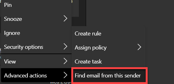 The find email from this sender action from the web version of Outlook.