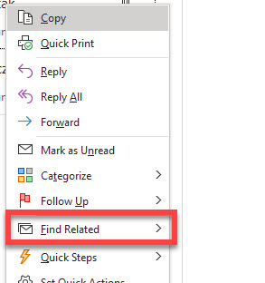 The find related action from the desktop version of Outlook.