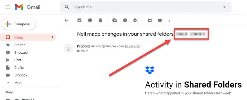 Labels highlighted in Gmail.