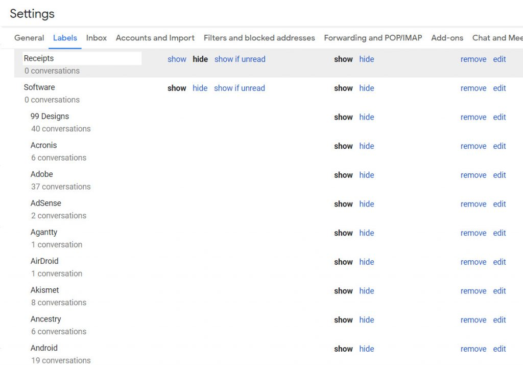 Label settings in Gmail.