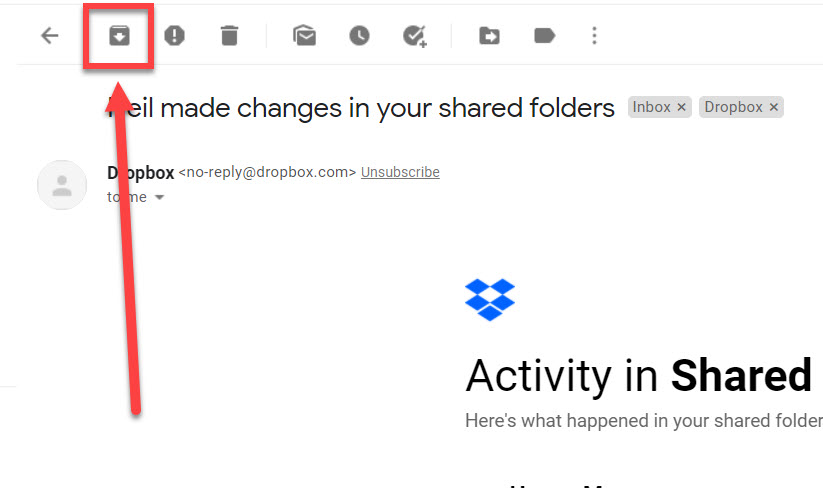 Archive button highlighted in Gmail.