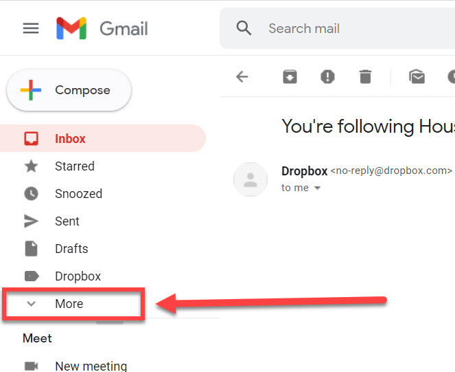 The more link highlighted in Gmail.