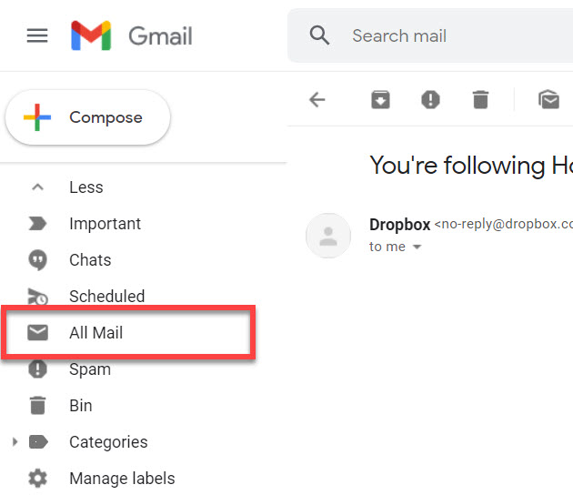 The all mail link highlighted in Gmail.