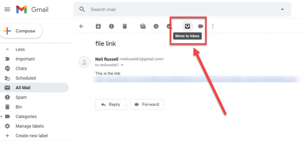 The move to inbox link highlighted in Gmail.