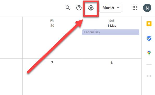 Google calendar settings icon.