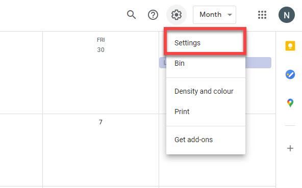 Google calendar settings drop-down menu.