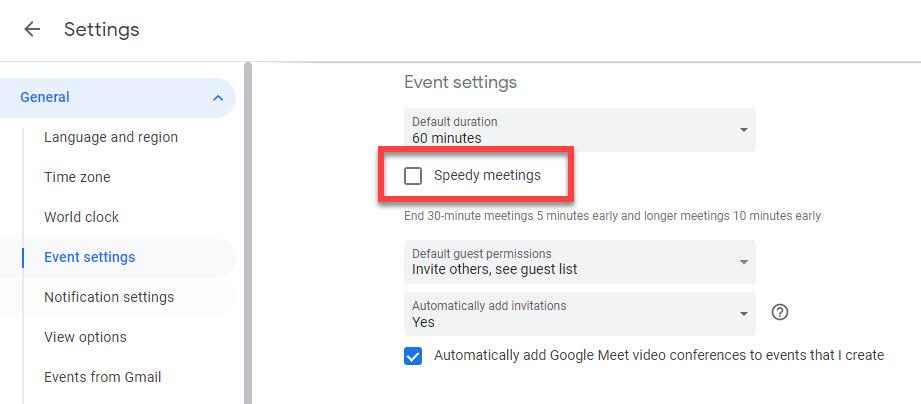 Google calendar speedy meetings tick box.