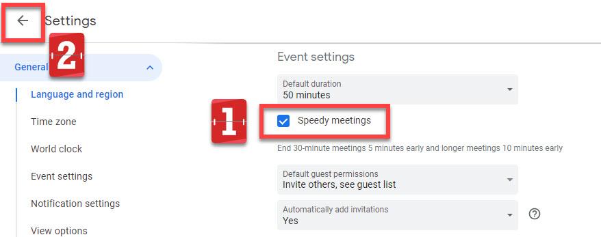 The speedy meetings tickbox activated for Google calendar.