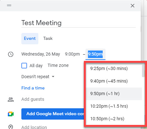 The end date of a new Google calendar meeting showing included time buffers.
