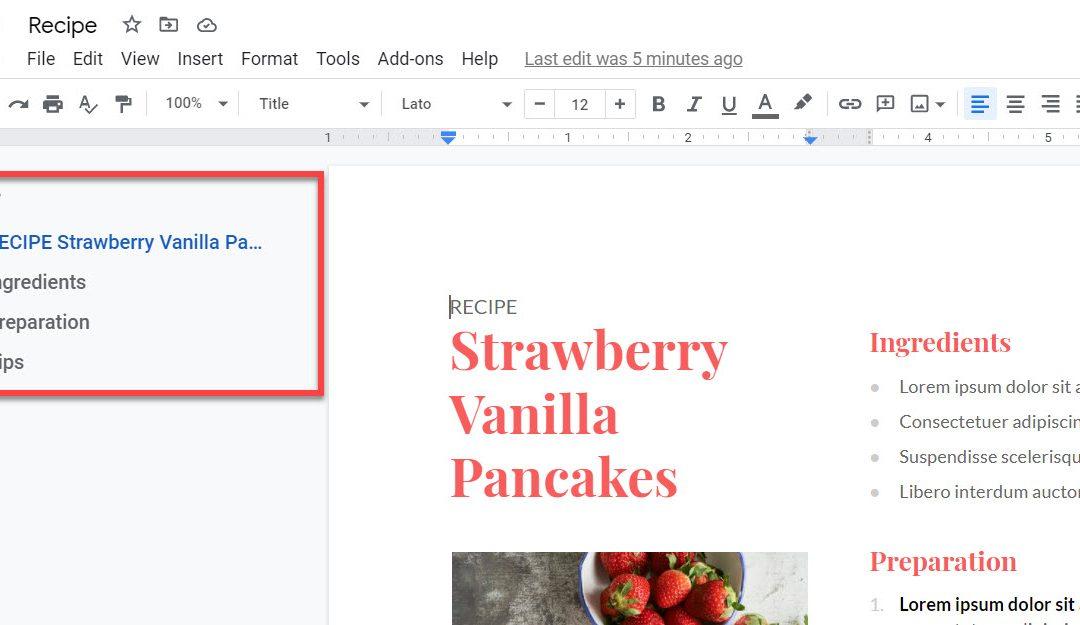 Google Doc Outline View