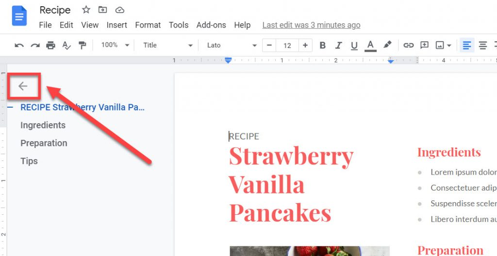 The close icon for the Google Doc outline view.