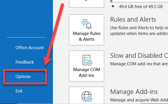 File options link in Outlook.
