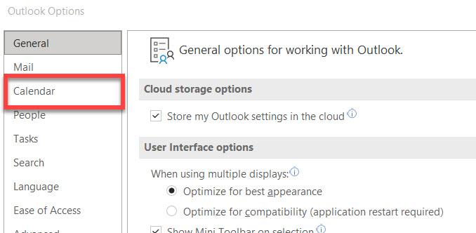 Calendar options link in Outlook.