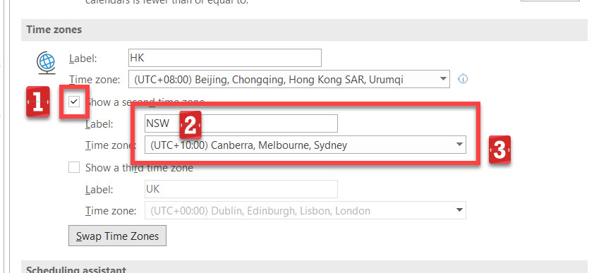 Second time zone setting details.