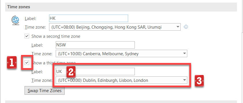 Third time zone setting details.