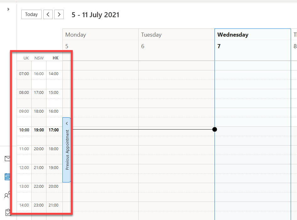 Time zone details visible in Outlook calendar.
