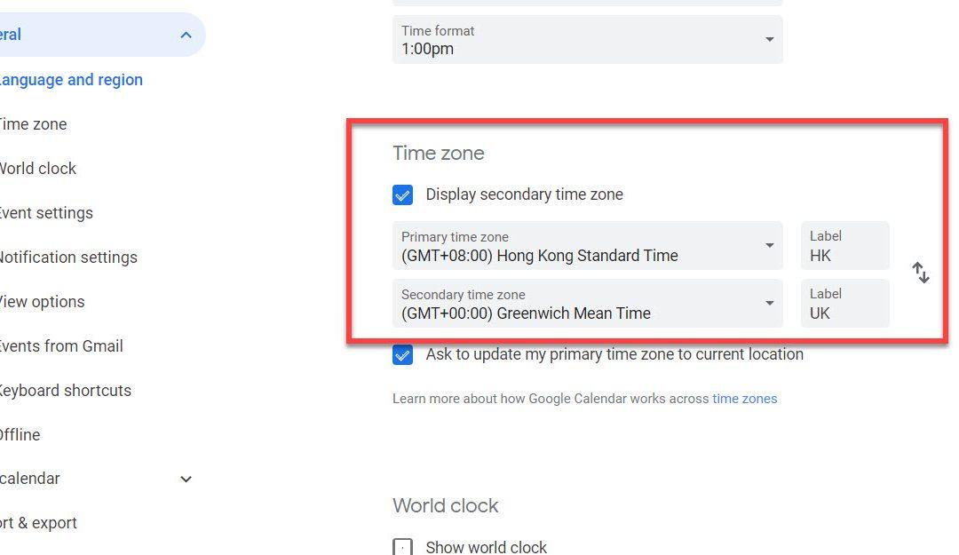 Show Multiple Time Zones in Google Calendar