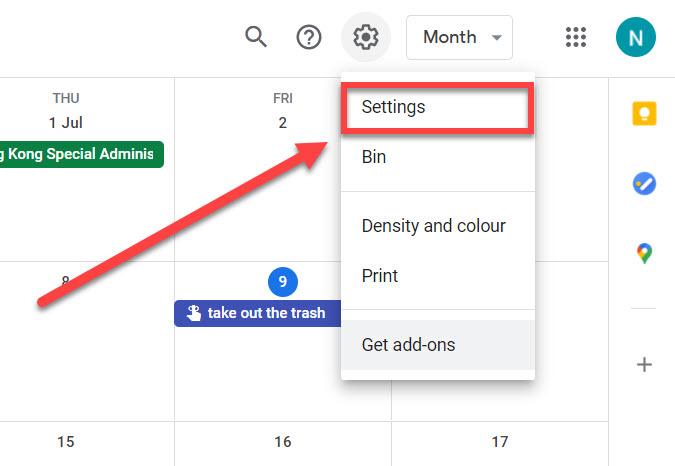 Google calendar settings link