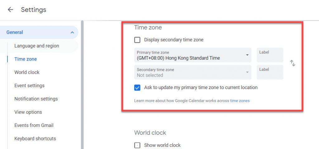 Google calendar time zone details