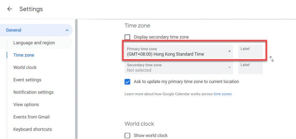 Google calendar current time zone details