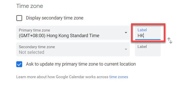 Google calendar current time zone label