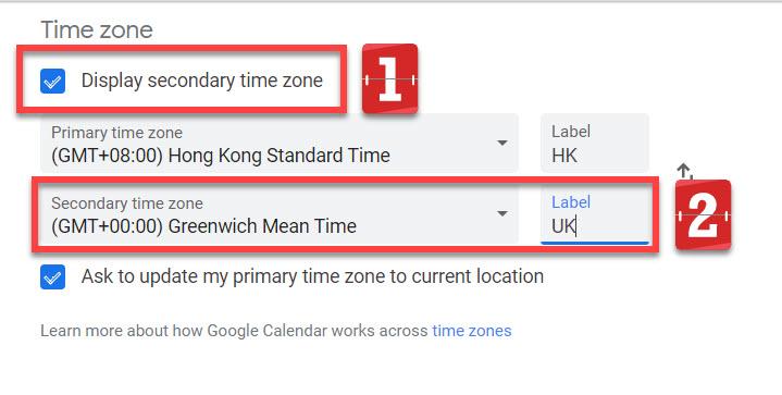 Google calendar second time zone fields
