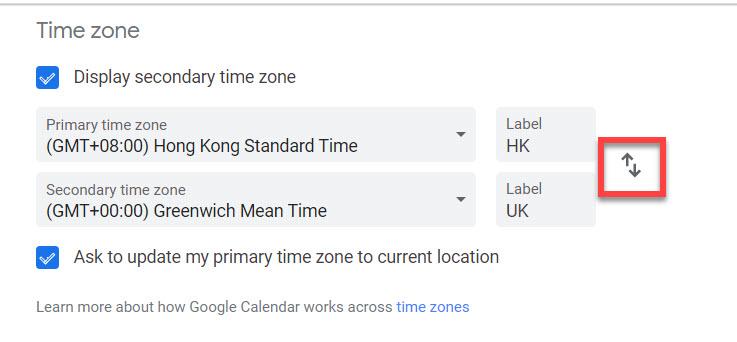 Google calendar time zone display toggle