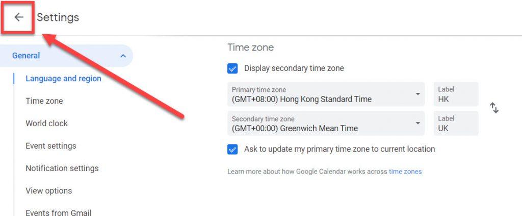 Google calendar close settings link