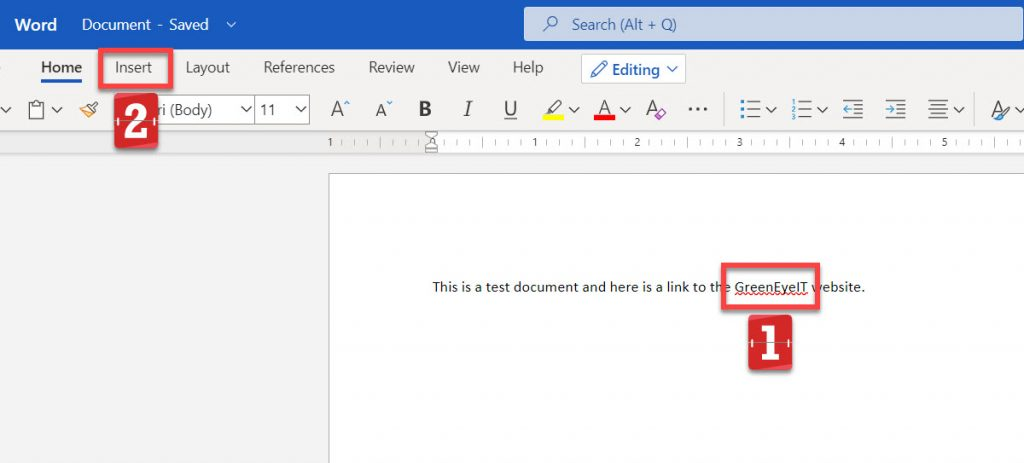 Highlighted text in Word online.