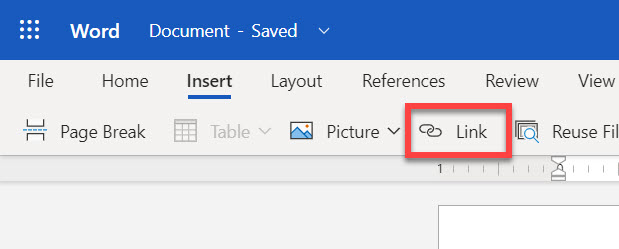 Insery link icon in Word online.