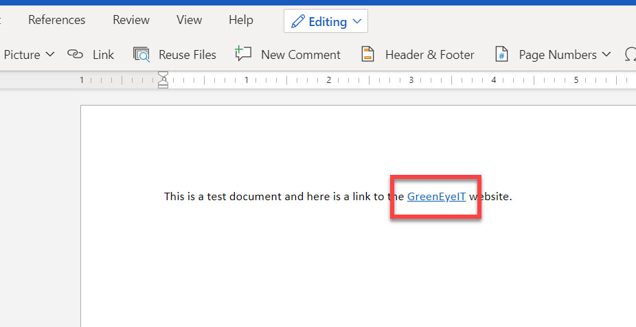 Text with clickable link in Word online.