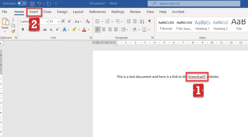 Highlighted text in desktop Word.