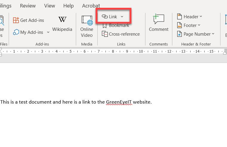 Insert link icon in desktop Word.