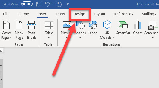Design tab highlighted in the Word ribbon.