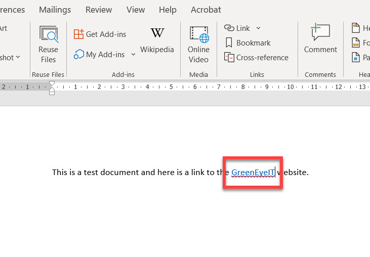 Text with a clickable link in desktop Word.