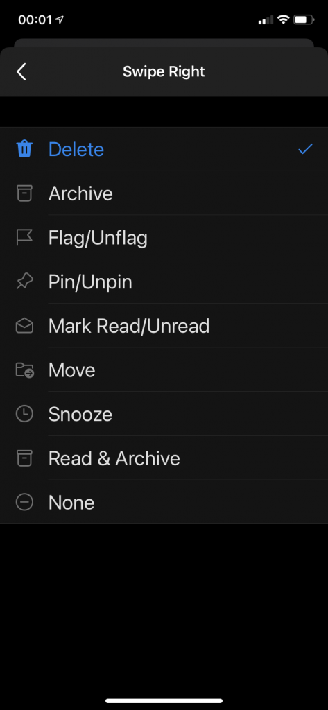 List of available swipe actions.