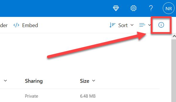 OneDrive information icon.