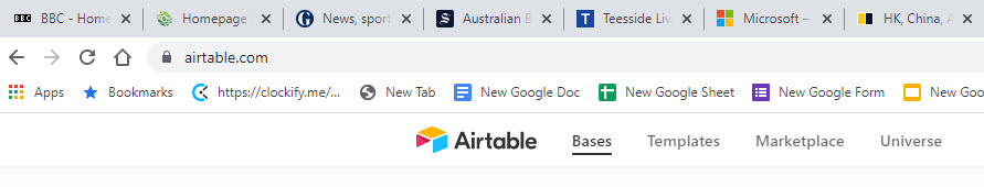 Horizontal browser tabs in Google Chrome.